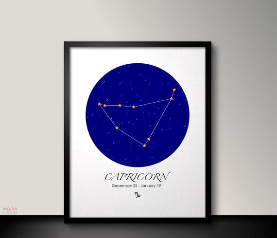 Capricorn zodiac art Printable Capricorn art by RegainStudio