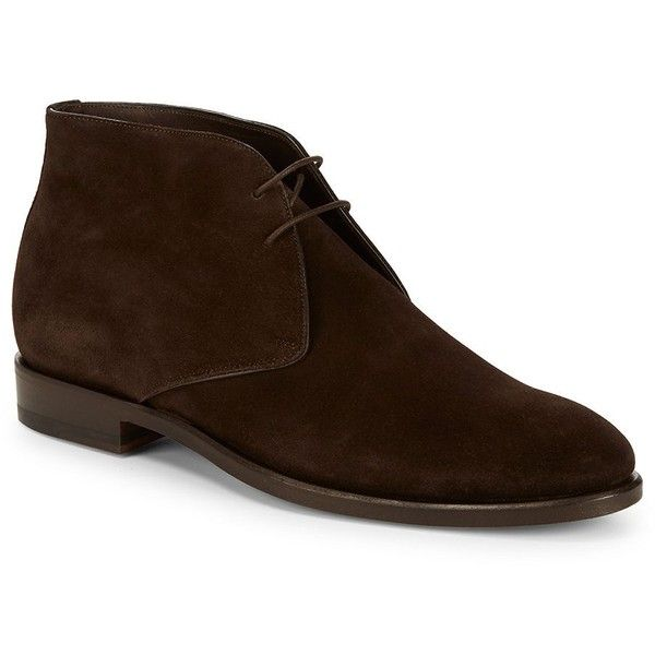 Canali Suede Ankle Boots ($290) ❤ liked on Polyvore featuring men's fashion, men's shoes, men's boots, mens shoes, mens dark brown dress shoes, mens stacked heel boots, mens round toe cowboy boots and mens boots