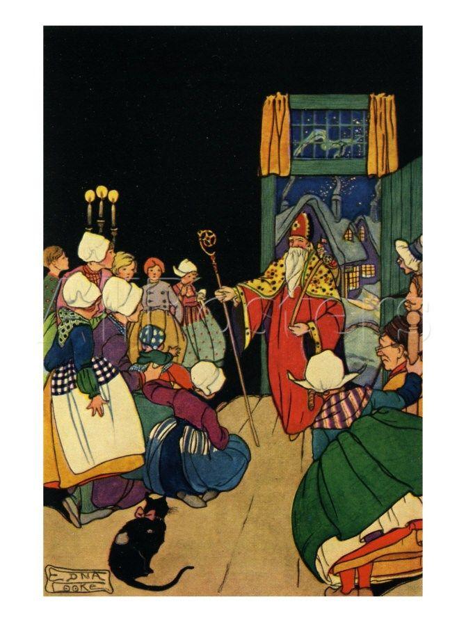 Poster, Saint Nicholas arrives at Dutch family home