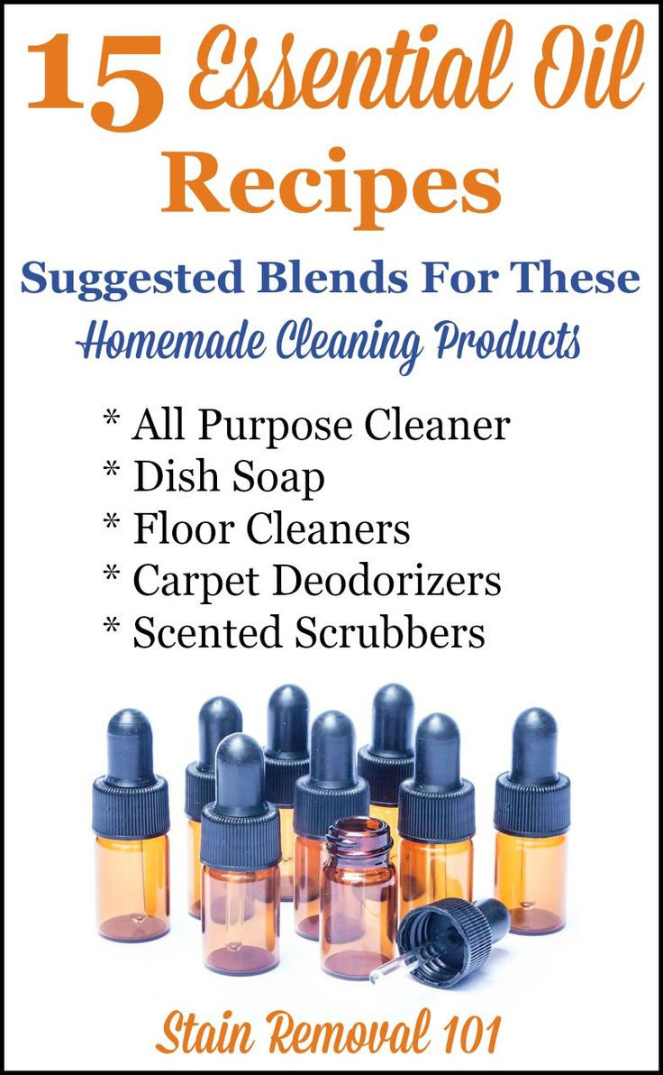 15 essential oil recipes and suggested blends for use in homemade cleaning products. There are good blends for all purpose cleaners, dish soaps, floor cleaners, carpet deodorizers and scented scrubbing powders. There's flowery, citrus, herbal, minty and even spicy scented blends in the list! {on Stain Removal 101}