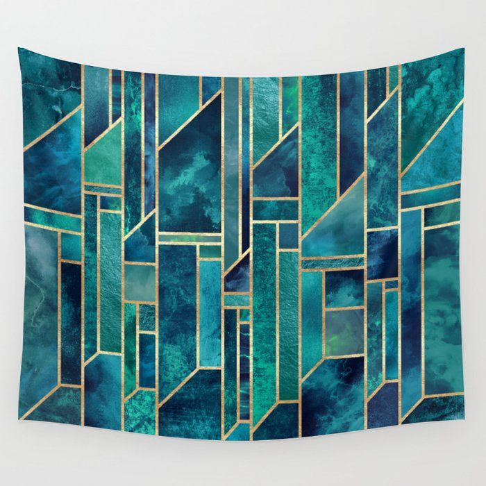 Blue Skies Wall Tapestry Art Deco Wall Art Abstract Sky Art