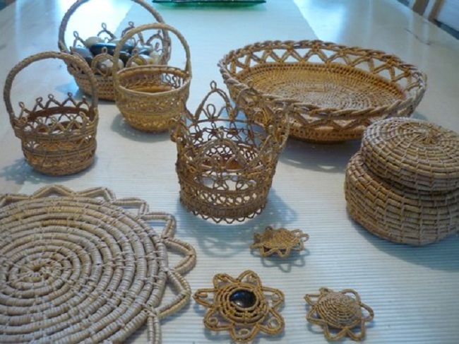 Examples of Scandinavian root baskets and straw work  at the Wilhelmina Museum Photo by A. S. Persson