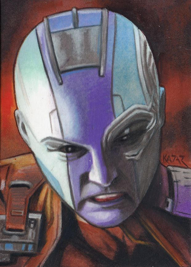 Nebula Karen Gillan Guardians of the Galaxy Sketch Card by Frank Kadar PSC ACEO