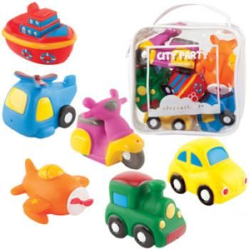 Give this wonderful set of bath toys from Elegant Baby and your kids will never want to leave the tub! Composed of six brightly coloured bath squirt toys, this set includes a car, train, tugboat, bi-plane and more. Parents will love the nontoxic paint and phthalate-free toys Packaged in a vinyl zip bag with drainage holes for neat and easy storage and cleanup, it makes a fantastic baby shower or birthday gift.