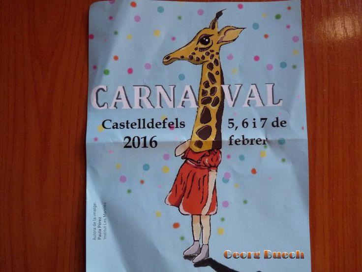 Cartel del Carnaval en Castelldefels, provincia de Barcelona, Cataluña, España del 5 al 7 de febrero de 2016.