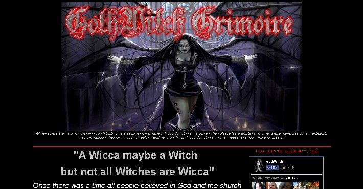 My Website GothWitch Grimoire homepage