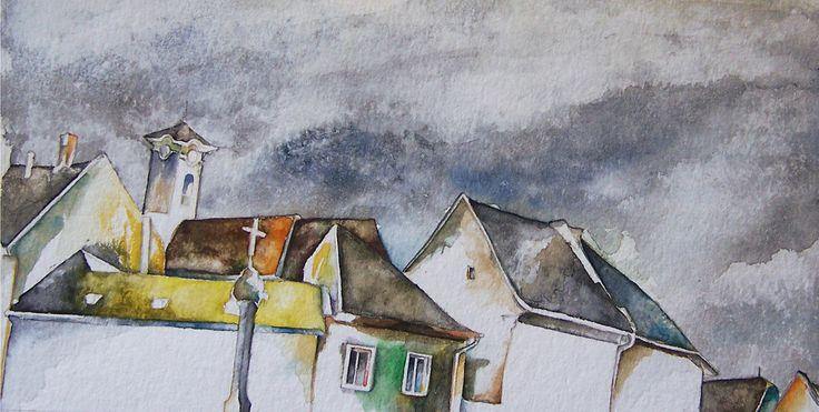 Andrea Papageorgiu  'Szentendre'  2014  watercolor on paper