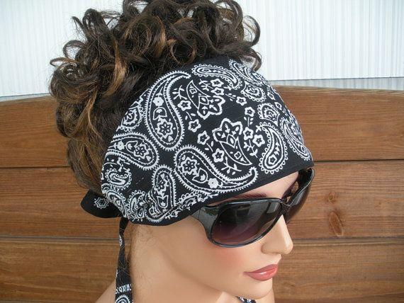 Womens Headband Fabric Headband Fashion Accessories Women Headscarf Yoga Headband Bandana in Black Paisley print - Choose color