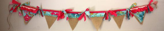 Custom Girls Burlap Pendant Banner by AnchorandLace on Etsy, $42.00