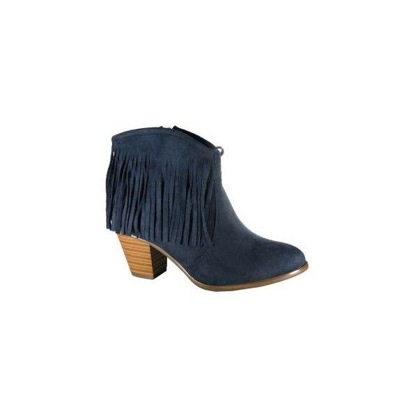 MARYPAZ ThÄis zapato botín azul cowboy tacón con flecos en ante ❤ liked on Polyvore featuring zapatos