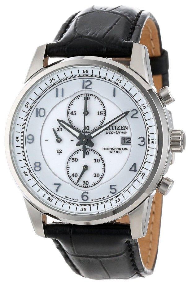 Citizen Men watches : Citizen Men's CA0331-05A Eco-Drive Stainless Steel Chronograph Watch