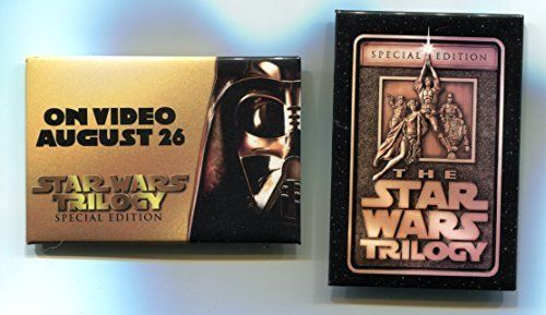 STAR WARS 1996 1997 Pinback Theater Video Trilogy Release Employee Pin lot of 2 //Price: $16.99 & FREE Shipping //     #starwarscollection