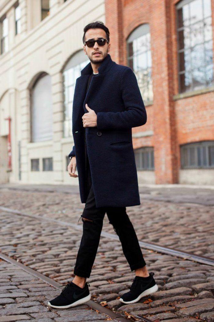 comment etre elgant les hommes avec un manteau homme celio bleu foncé