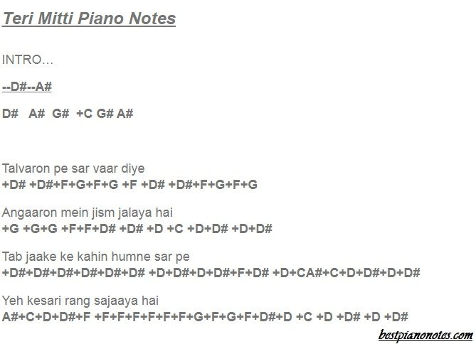 Teri Mitti Piano Notes In 2020 With Images Piano Songs Piano