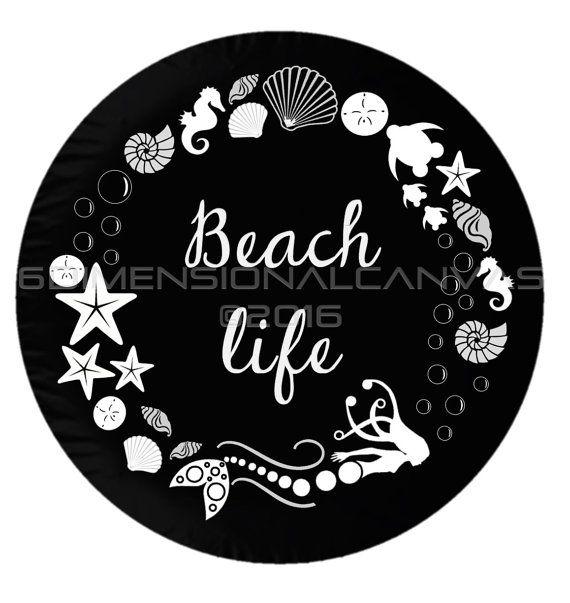 Beach Life Mermaid Jeep/Crv/Hummer Spare by 6DimensionalCanvas