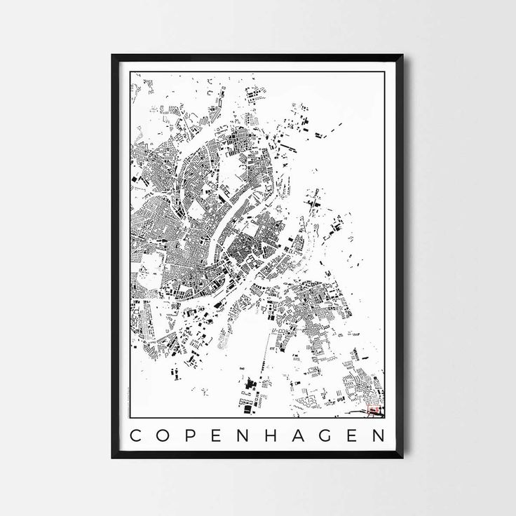 Copenhagen schwarzplan map art city posters. Unique interior decor idea for offices art posters or kitchen art prints.  Minimalist city art gifts for travelers as framed art or canvas wall art. Urban plan map style. print, poster, gift | CityArtPosters.com