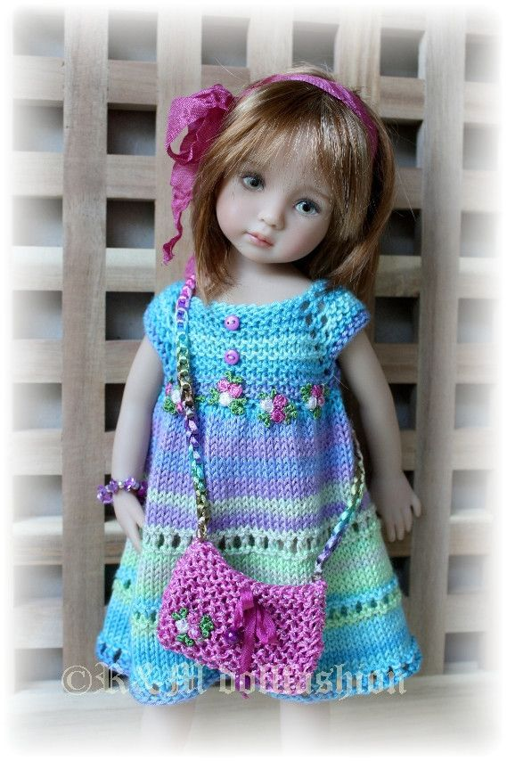 """Hand Knit Set by R M Dollfashion Cute Line for Effner 13"""" Kish 14"""" BJD Dolls"""