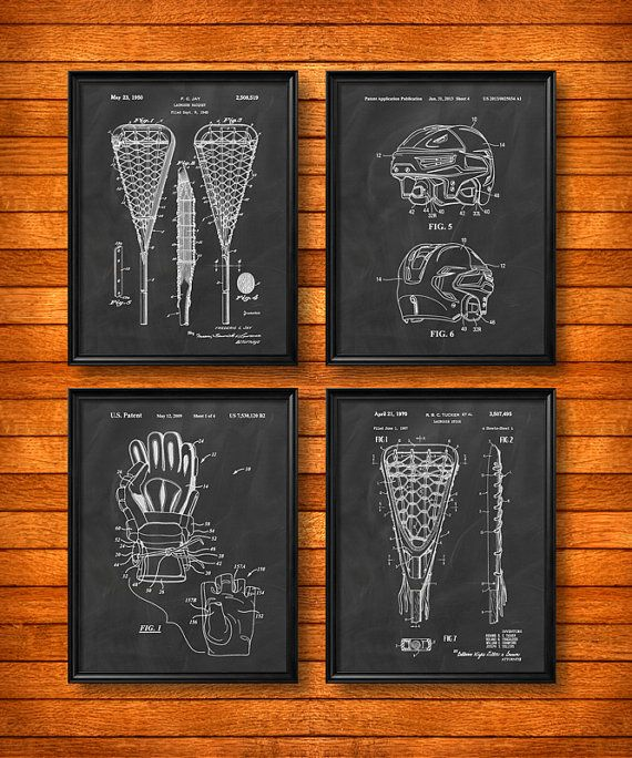 SET of 4 LACROSSE Art Posters, Vintage Patent Illustration, Art Print, Canvas, Wall Art, Home Decor, Lacrosse, Sport, Lacrosse Gift - s53
