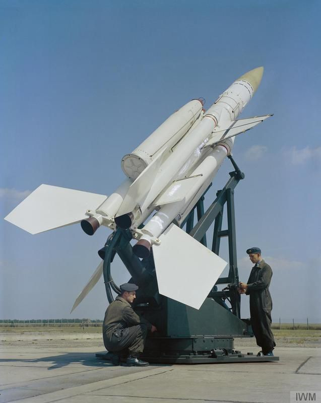 RAF Guided Missile Fitters (S) of No 62 Squadron servicing a Bristol Bloodhound Mark 1 surface-to-air guided missile at RAF Woolfox Lodge, Rutland, a disused Second World War airfield, was a satellite base to the V-Force station RAF Cottesmore and close to the Thor station of RAF North Luffenham.