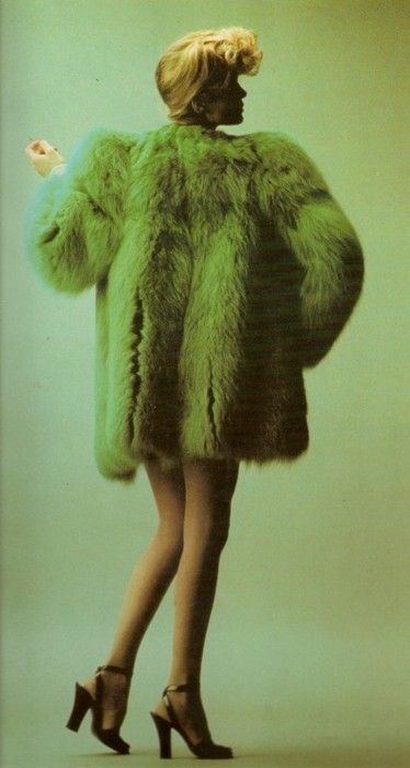 Green fur coat by Yves St Laurent, 1970s.