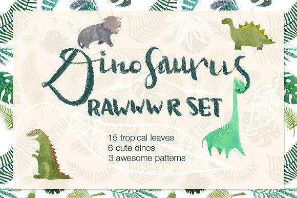 Rawrr dinoset by Chayka shop on @creativemarket