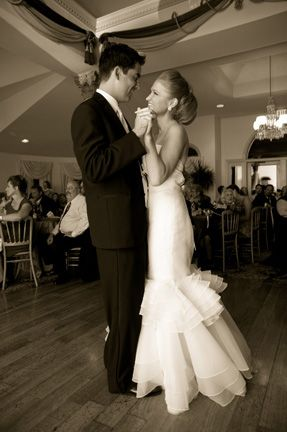 Bride and groom's first dance at Ceresville Mansion, Frederick, MD