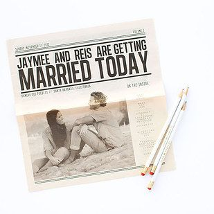 Memorable invite idea. The wedding website can also be in the same newspaper style