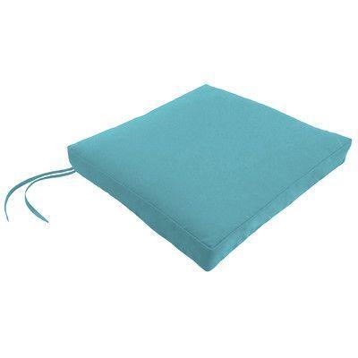 Wayfair Custom Outdoor Cushions Outdoor Square Dining Chair Cushion with Ties Fabric: Fresco Atlantis, Width: 18, Depth: 17