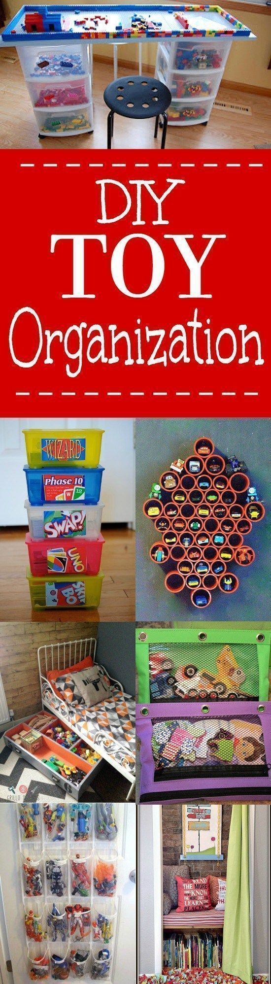DIY Toy Organization Ideas for Kids and Playrooms - Don't let the toys take over! Organize your kids' playroom with these clever DIY Toy Organization Ideas for kids' bedrooms and playrooms. Love this! We need this so bad! #kidsplayroom