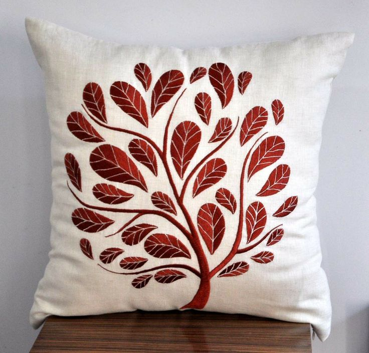 Orange Peacock Tree Embroidered Throw  Pillow Cover by kainkain. #automatism