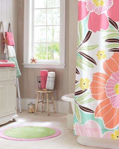 Tropical Floral Bathroom | PBteen: Teens Girls Bathroom, Bathroom Colors, Kids Bathroom, Teen Girl Bathrooms, House Ideas, Keys Interiors, Rooms Ideas, Bathroom Ideas, Shower Curtains
