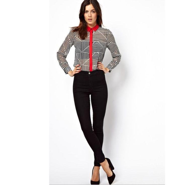 NEW Women Casual Chiffon Button Down Lapel Shirt Flannel Tops Blouse Size M #DL #Blouse #Career