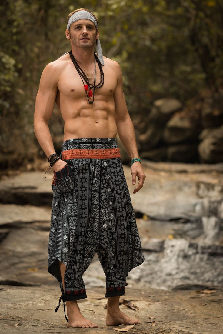 Traditional Prints Thai Hill Tribe Fabric Men Harem Pants with Ankle Straps