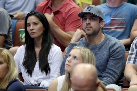 Aaron Rodgers Deep in Thought at a Basketball Game -- Green Bay Packers quarterback Aaron Rodgers has some thinking to do. He must reflect on what a jerk he's been so he can get back in the good graces of his lady.