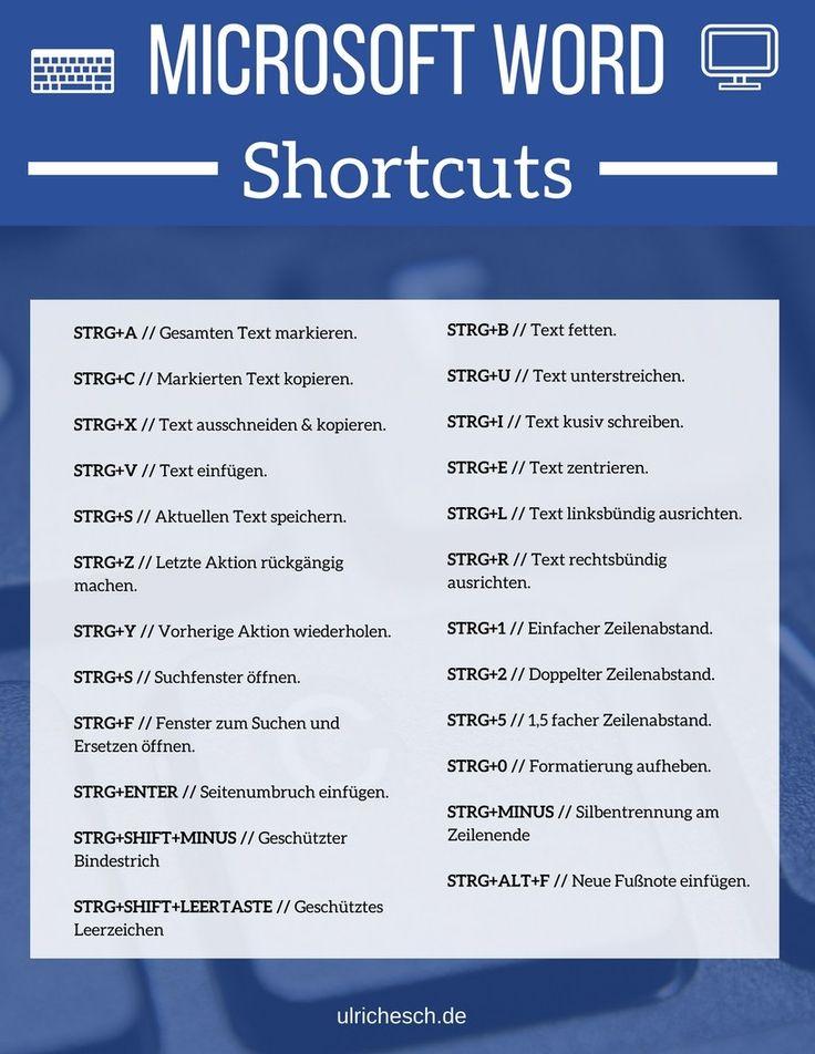 Du bist von der Formatierung mit der Maus in Microsoft Word genervt? Dann hilft dir diese Übersicht mit wichtigen Shortcuts garantiert weiter! #microsoft #word #quicktips #productivity