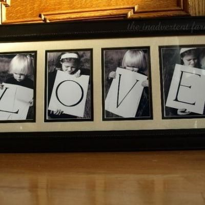 Take a pic of each of your kids holding a letter. Only have 2 kids? write 2 letters on each card, or take two pics of each. Use individual frames from the $ store. Spray the frames black. Print photos or walgreens for 29cents