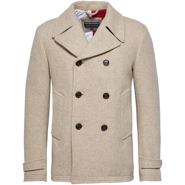 Tommy Hilfiger Jersey Peacoat Coat ($430) ❤ liked on Polyvore featuring men's fashion, men's clothing, men's outerwear, men's coats, men coats and jackets, mens wool pea coat, mens double breasted pea coat, mens peacoat, mens coats and mens double breasted peacoat