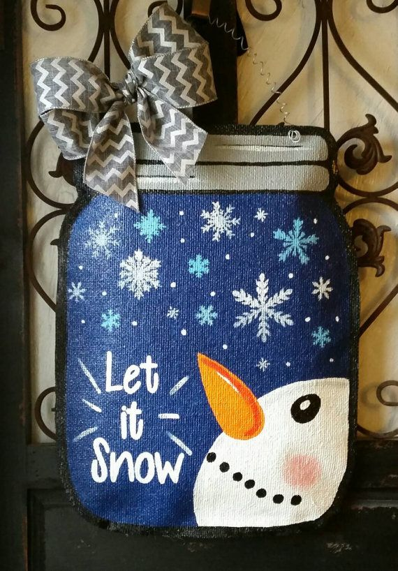 Check out this item in my Etsy shop https://www.etsy.com/listing/261446299/winter-themed-mason-jar-door-hanger