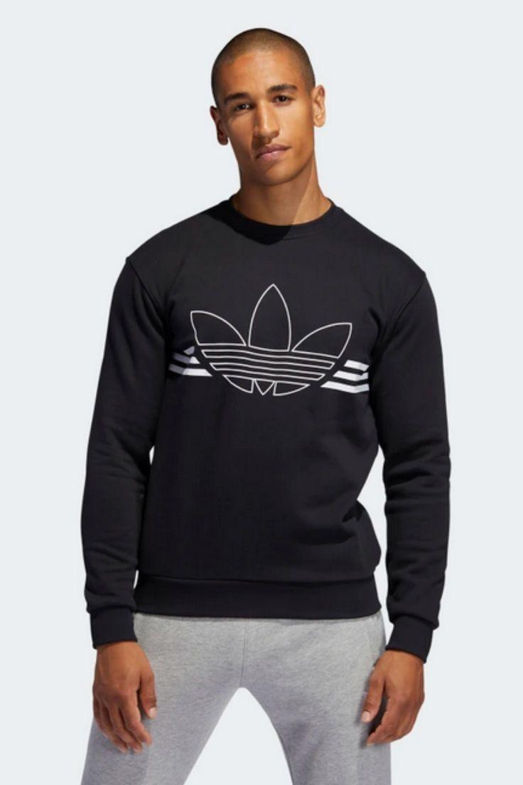 90s Street Style Adidas Originals Men S Outline Fleece Crewneck Sweatshirt Crew Neck Sweatshirt Long Sleeve Tshirt Men Sweatshirts [ 1104 x 736 Pixel ]