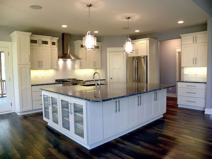 Love The Wide Drawers As Base Cabinets Instead Of Doors Beautiful Island With Glass Door Feature Open To Next Room Grey Wall And