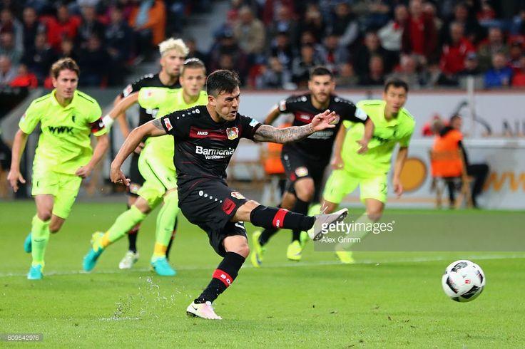 Charles Aranguiz of Leverkusen misses a penalty during the Bundesliga match between Bayer 04 Leverkusen and FC Augsburg at BayArena on September 21, 2016 in Leverkusen, Germany.