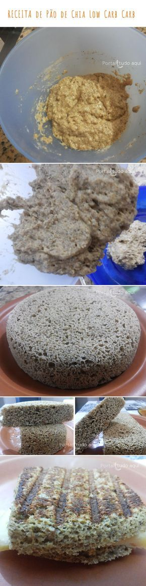 Aprenda a fazer essa receita de Pão de Chia Low Carb que pode ser feito no microondas ou no forno convencional. Fica com uma excelente textura e delicioso!
