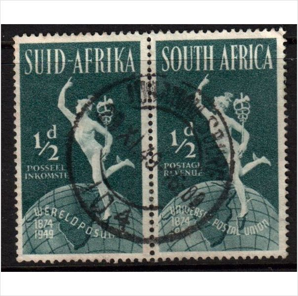 South Africa Scott 109 - SG128, 1949 UPU 1/2d Pair used stamps sur le France de eBid