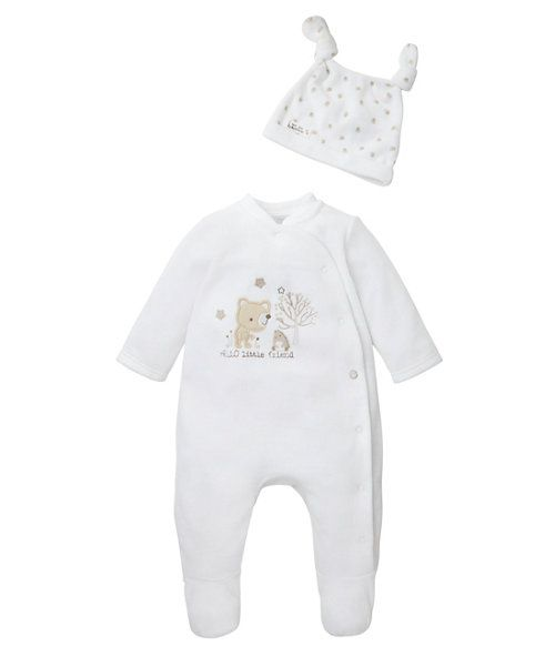 Hello Little Friend All In One and Hat Set http://www.parentideal.co.uk/mothercare---baby-clothes.html
