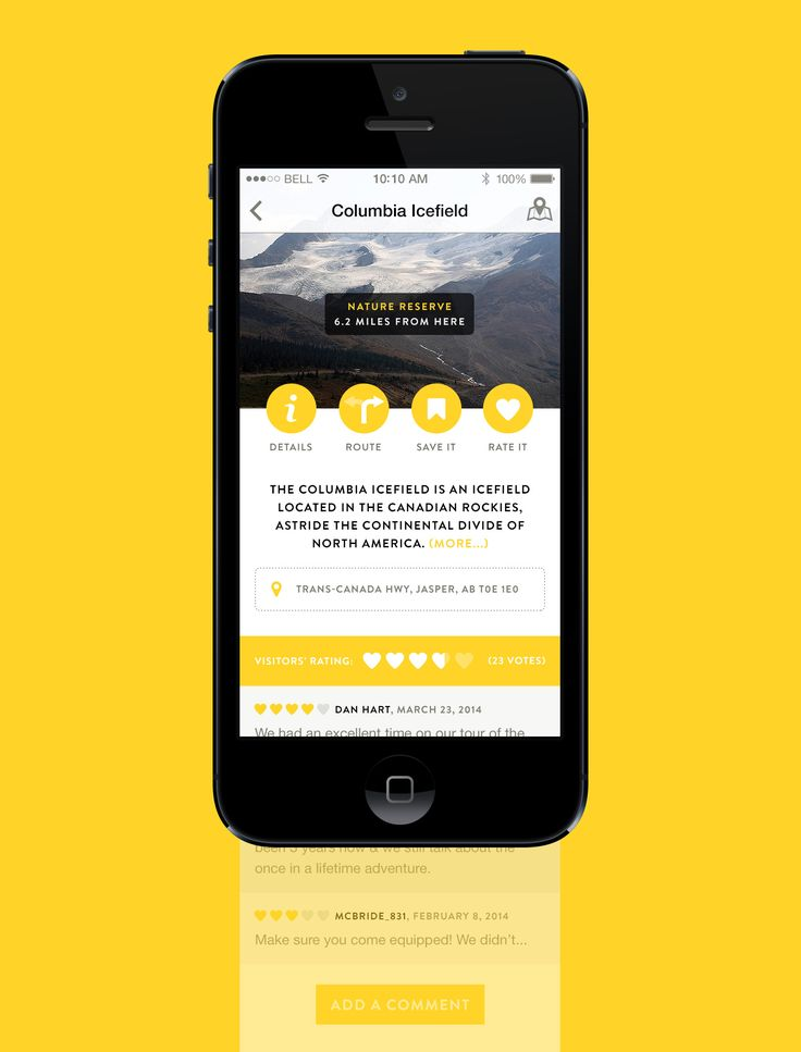 Tourism App – Place description (yellow UI design)