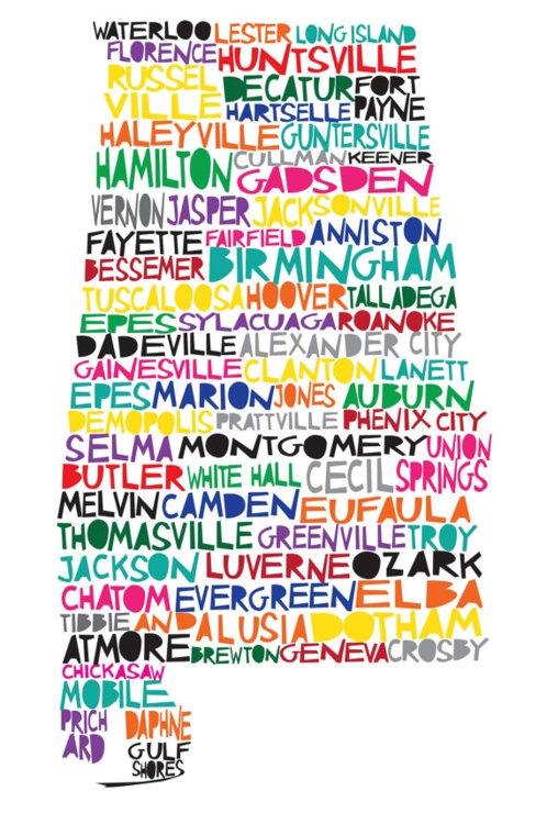 I love this because it incorporates the names of the cities into the shape