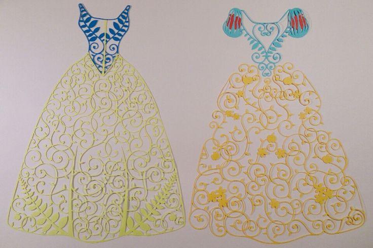 切り絵のドレス✨ディズニープリンセス 美女と野獣 の画像|コトコト切り絵中