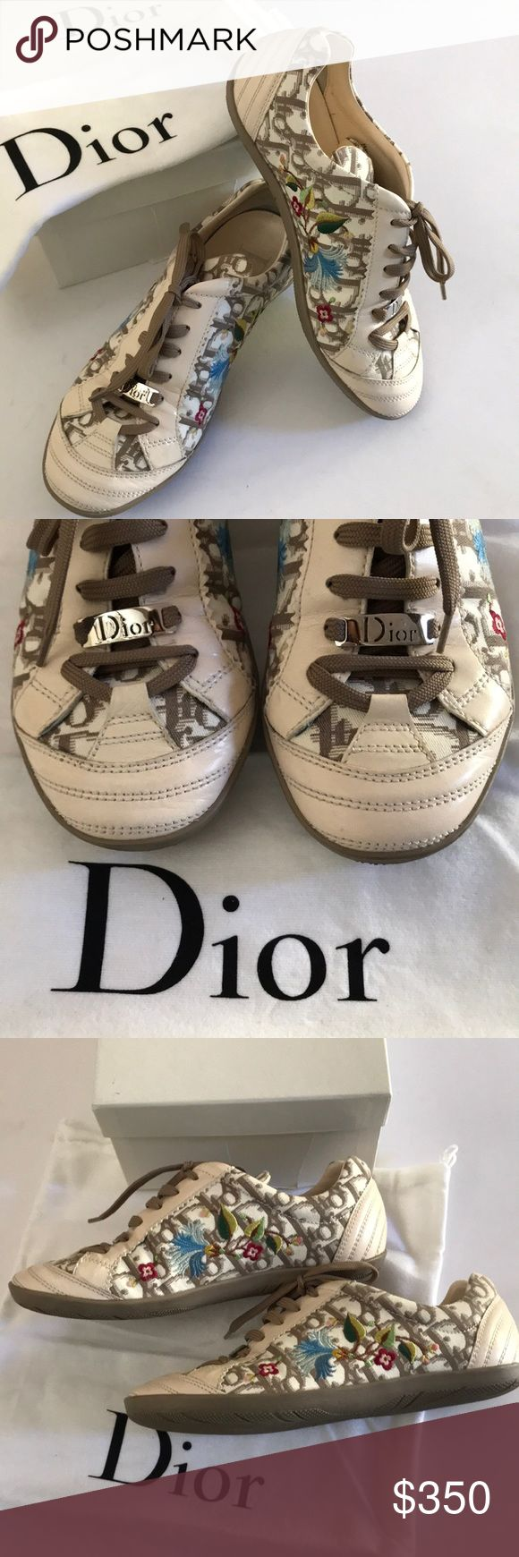 Christian Dior Sport Floral Sneakers- Like New Feminine charm and unmatched comfort. Crafter from a subtle combination of chiefs monogrammed canvas and leather, these sport sneakers matching laces and shoe arches. Accented with multi colored floral embroidery. Leather insoles with brand detail. Tan lace up closure and silver Dior embellishment. Like new condition. Only worn once.  Dust bag and box included. Christian Dior Shoes Sneakers