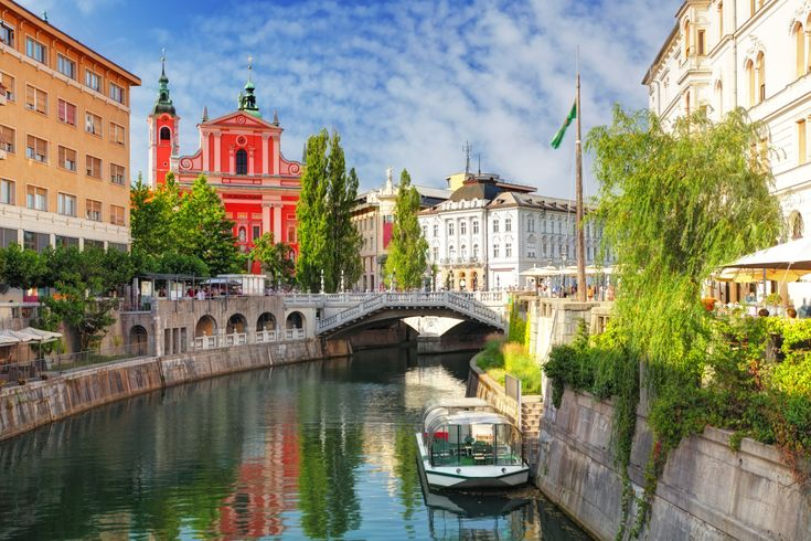 Ljubljana - Slovenia (Church and river Ljubljanica) City Break Deal from Don't Forget The Passports Bridge, Blue Sky, River, Slovnia, Green Capital