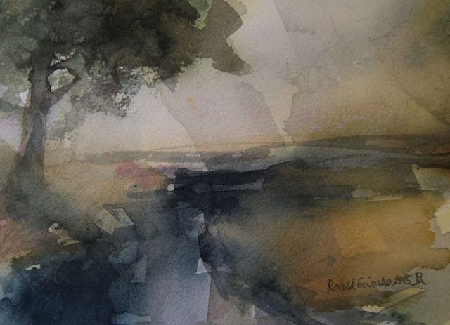 Kunstneren i Bergen: Høstdag, akvarell